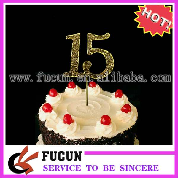 No.15 Gold Rhinestone NUMBER CAKE TOPPER for Birthday, Anniversary, Quinceanera, Sweet Sixteen, and Special Event