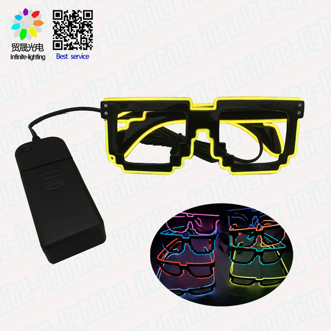Shutter shades EL wire glowing in dark sunglasses