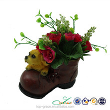 creative flower pot resin cowboy boot decoration