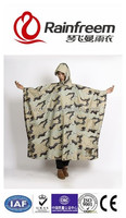 OEM factory huge size camouflague forest square printing color waterproof durable nylon pu reflective rain poncho with sleeve