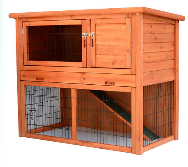 Wood Portable Rabbit Hutch House Chicken Coop Pet Cage 46""