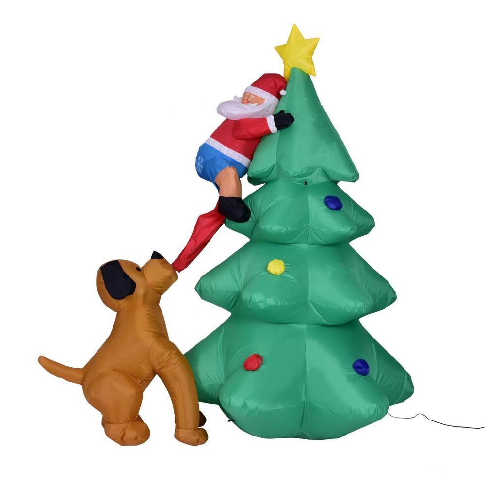 6ft Giant Size Inflatable Christmas Tree with Santa Chased by Dog for Yard, Garden <strong>Decoration</strong>