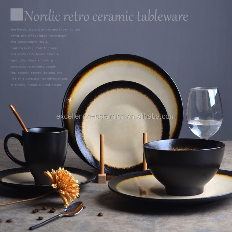 M07021 Porcelain / Ceramic / Pottery Black reactive glaze wiht ice crackle glaze dinner sets / tableware