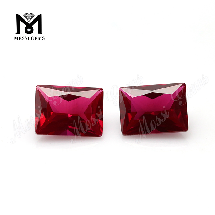 dark red corundum 6x8mm baguette cut synthetic ruby price