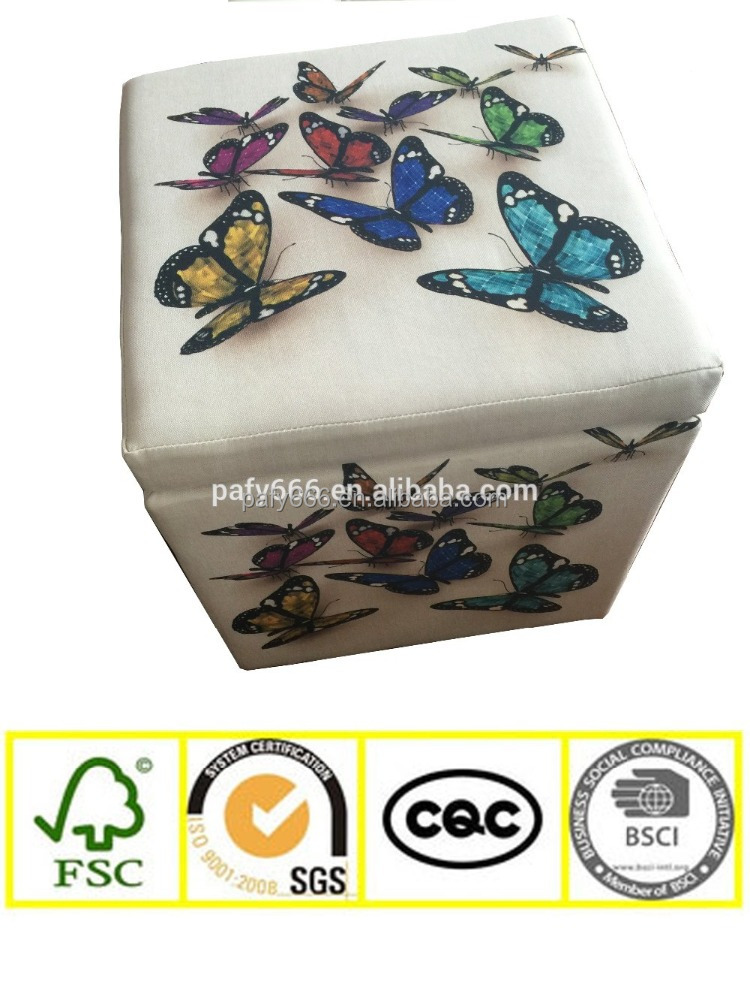 Home Furniture Butterfly Pattern Cube Storage Ottoman Pouf Foot Stool