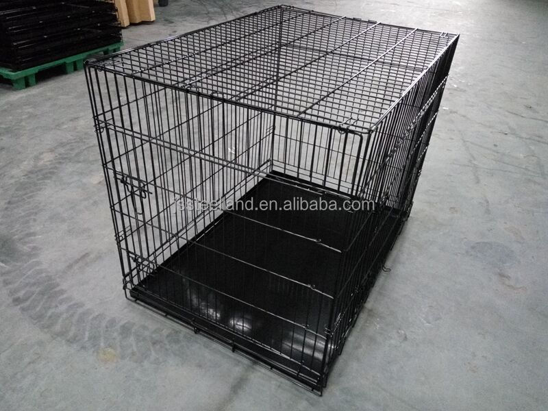 "powder coated dog cage 36"" with two doors pet crate"
