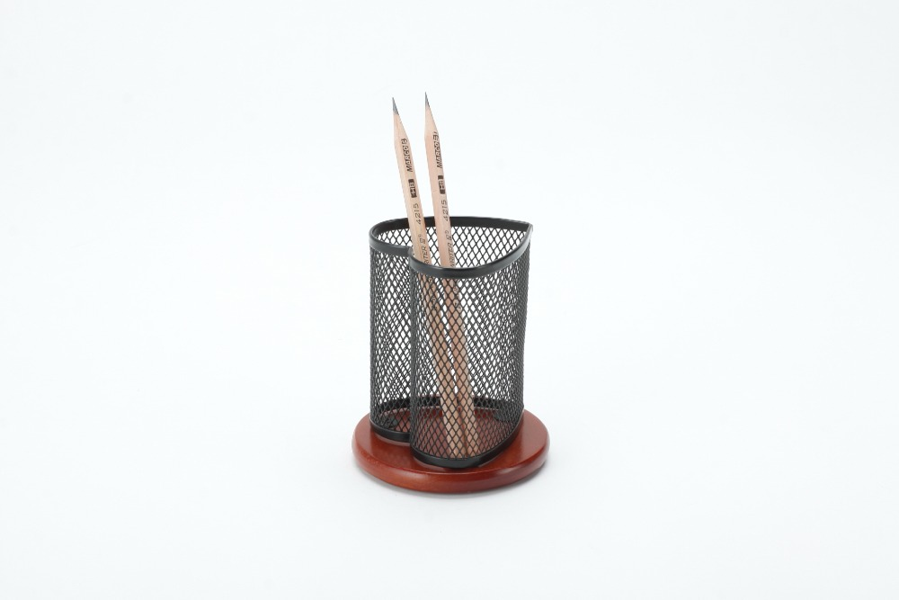 metal mesh office desktop wood base heart shape pen and pencil cup