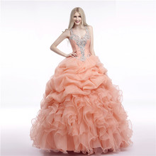 2018 Coral Ball Gown Quinceanera Dresses Beads Crystal Ruffles Organza Corset Sweet 16 Dress Prom Girls Vestidos de anos