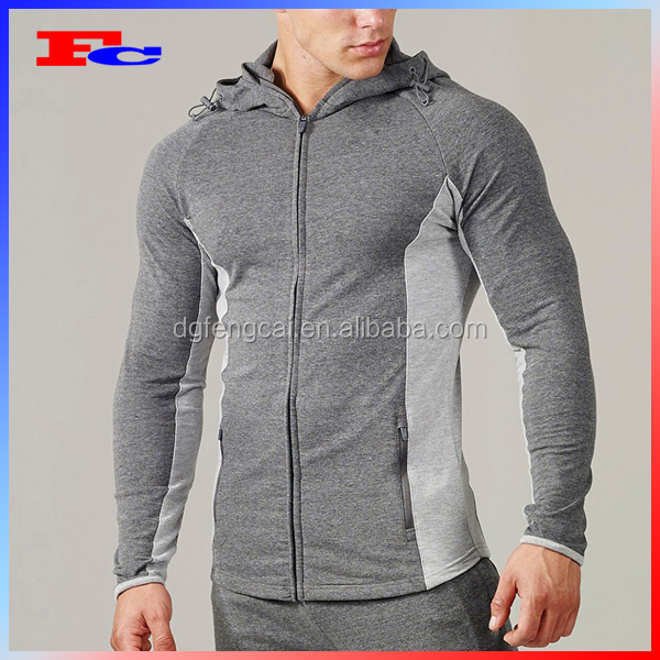 Hot Customized Logo Embroidery Mens Training Tracksuit Fitted Sports Zip Up Jackets