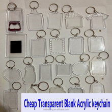 Cheap Transparent Blank Acrylic keychain , picture insert plastic photo frame key chain