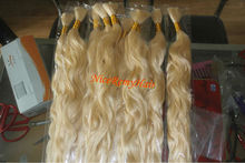 unprocessed grey virgin hair bleached in blonde color/natural wavy high quality