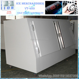 Outdoor cold wall/auto defrost refrigerated ice merchandiser bagged ice storage bin VT-400
