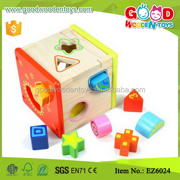 Wisdom Wooden Shape Sorting Box N Shape Sorter Cube Kids Fun Wooden Toys
