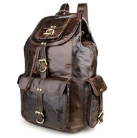 Vintage Real Leather High Quality Unisex Camping Backpack For School # 7268C