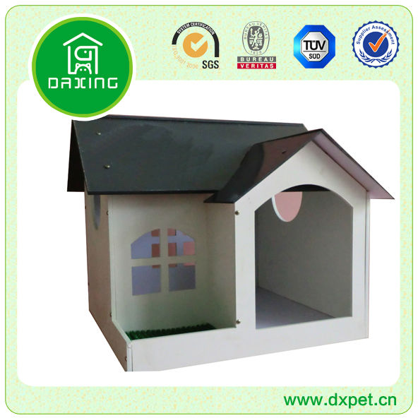 MDF Pet House 2-Room Dogs Cats Wooden Home With Run DXMP036
