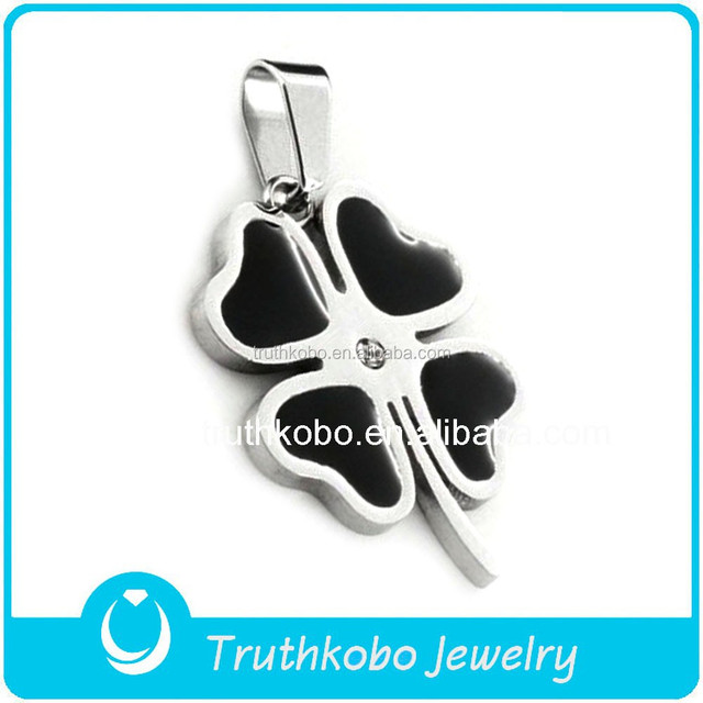 Wholesale Holy Stainless Steel Jewelry Charms Lucky Black Enamel Four Leaf Clover Pendant With Sparkly Crystal Design For Women