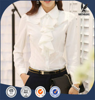2016 white ruffle front collar office blouse slim fit ladies
