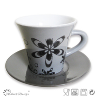 ceramic espresso cup and saucer horn shape with flower printing