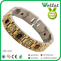 Vintage Gold Plating Crystal Stainless Steel Bracelet Turkish Jewelery
