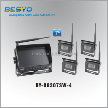 Wireless auto reversing camera system,7 inch digital wireless monitor with 4 camera system BY-08207SW-4