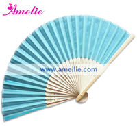 AF148 Blue folding fan in silk and bamboo