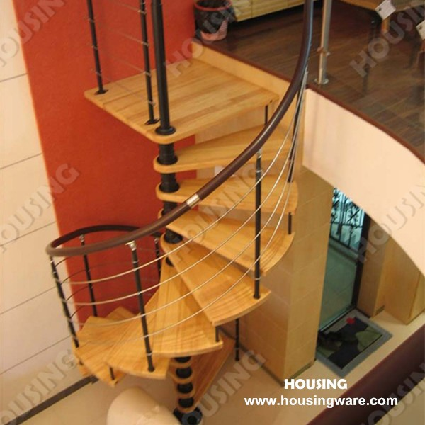faddish and well reputed wood step spiral staircase for indoor