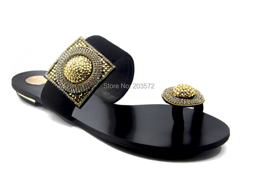 Genuine Flip Flops Nubuck Leather Women Rhinestone Flats Sandal Brand Summer Slippers 2015 Ladies Sandals Leisure Shoes Woman