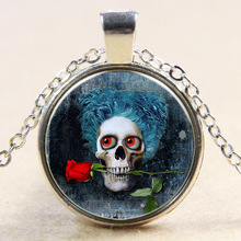 XP-TGN-S-114 Wholesale Vintage Meaningful Dome Cabochon Pendant Charm Diy Image Skull Time Gemstone Necklace In Alloy