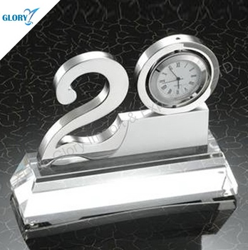 20 Years Clock Crystal Corporate Anniversary Gifts
