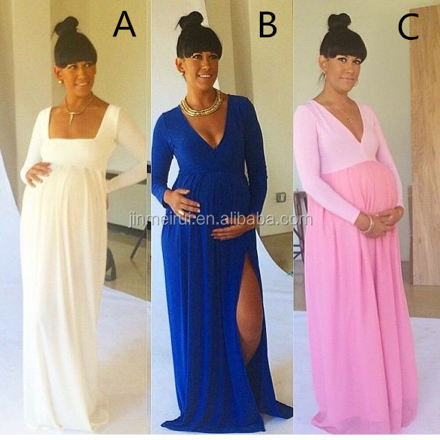 Latest Sexy Maternity Dresses with Side Slit V-neck Royal Blue Baby Shower Long Sleeve Pregnant Dresses Cheap