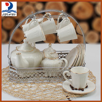 Hot selling newest products ceramic 17pcs tea set/coffee set with low price