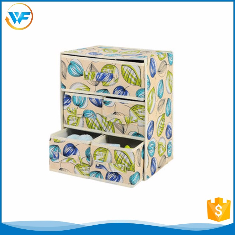 China Non-woven Drawer Five Drawers Foldable Nest Decoration Storage Box With Handle