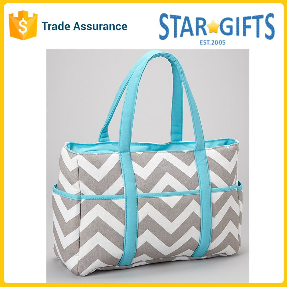 China Supplier Wholesale New 2016 Large Chevron Diaper Bag With Multi Compartments