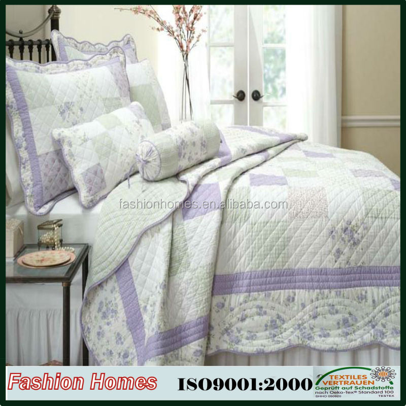 polyester microfiber fabric white patchwork printed quilt