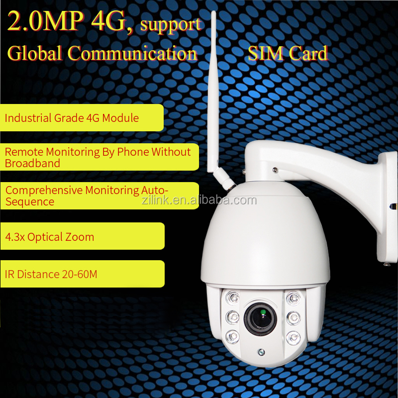 3G 4G sim card camera ip 360 degree outdoor cctv wifi security 2.0 MP with motion detect