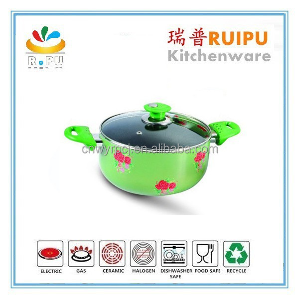 2015 hot selling wonderful green Chinese Enamel cookware Pot Set Enamelware Stew Pot aluminum casseroles made in india
