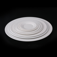 White Round Ceramic Dinner Dishes <strong>Flat</strong> Plate custom print restaurant white melamine round dinner plate