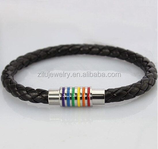 gay pride rainbow leather bracelets stainless steel clasp