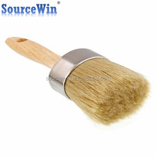 2 Inch Premium Oval Chalk Paint Wax Boar Round Bristle Brush With High Quality