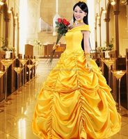 2016 Beast Belle Princess Yellow Beauty Party Dress Cosplay With Gloves