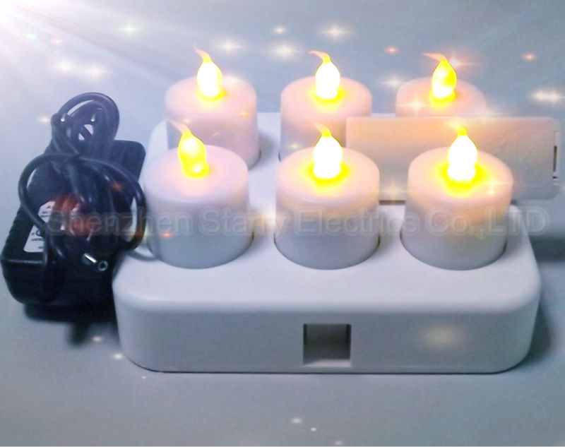 2014 hot sale inductive rechargeable led candle set of 6