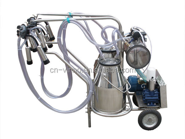 High Efficiency Portable Cow Dry Type Pump Double Buckets Milking Machine for Dairy Farm