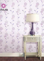 hot sale deep embossed big traditional chinese PURPLE hand painted flower designer wallpaper