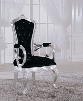 Luxury wooden dining room armchair in black color