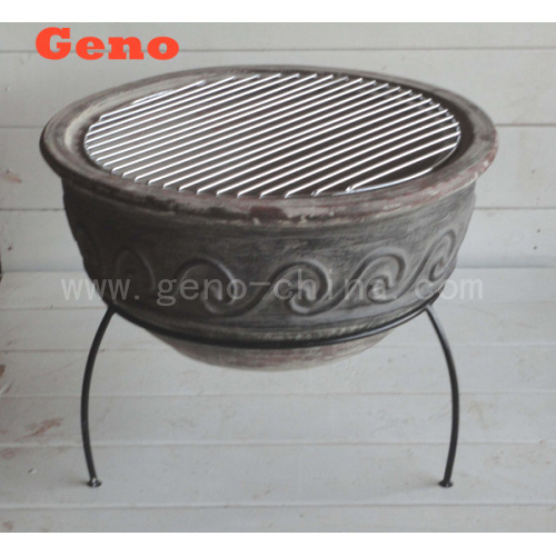 Clay fire pit with fiberstone material for warming