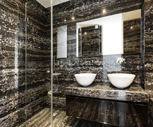 glossy good compressive strength black marble tile with white veins