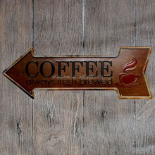 Coffee Always Fresh Brewed Retro Arrow Metal Tin Signs embossed vintage metal plate Wall Decor for Bar Pub Home Restuarant Decor