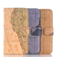 For Samsung S6 World Map Pattern PU Leather Case Hot sell Factory whole sale