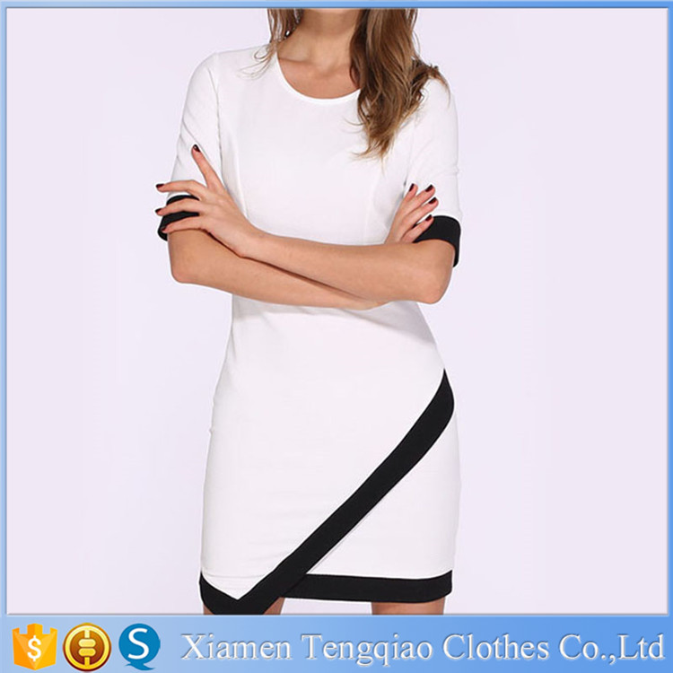 Cheap White Brief Short Sleeve Asymmetric Bodycon Work Office Dresses Designs For Women