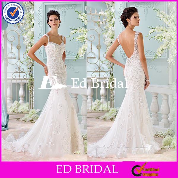 ST599 Sexy Bare Back Mermaid Cut Embroidered Beaded Floor Length Sexy Wedding Night Dresses